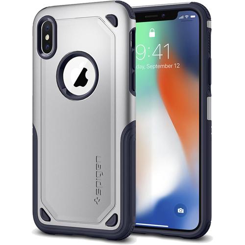 Чехол Spigen Hybrid Armor для iPhone X серебристый (057CS22352)Чехлы для iPhone X<br>Испытайте непревзойденную защиту чехла Hybrid Armor от Spigen для iPhone X!<br><br>Цвет товара: Серебристый<br>Материал: Поликарбонат, термопластичный полиуретан