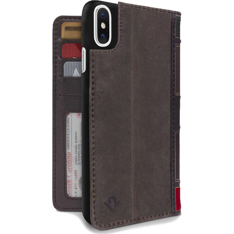Чехол Twelve South Bookbook для iPhone X коричневыйЧехлы для iPhone X<br>Twelve South BookBook для iPhone — это роскошный защитный чехол, бумажник и даже подставка для смартфона, представленные в великолепном виде.<br><br>Цвет товара: Коричневый<br>Материал: Натуральная кожа, поликарбонат