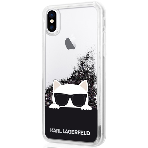 Чехол Karl Lagerfeld Liquid Glitter Choupette with Sunglasses для iPhone X прозрачный/чёрныйЧехлы для iPhone X<br>Чехол Karl Lagerfeld Liquid Glitter — это больше чем чехол, это настоящее украшение!<br><br>Цвет товара: Чёрный<br>Материал: Термопластичный полиуретан