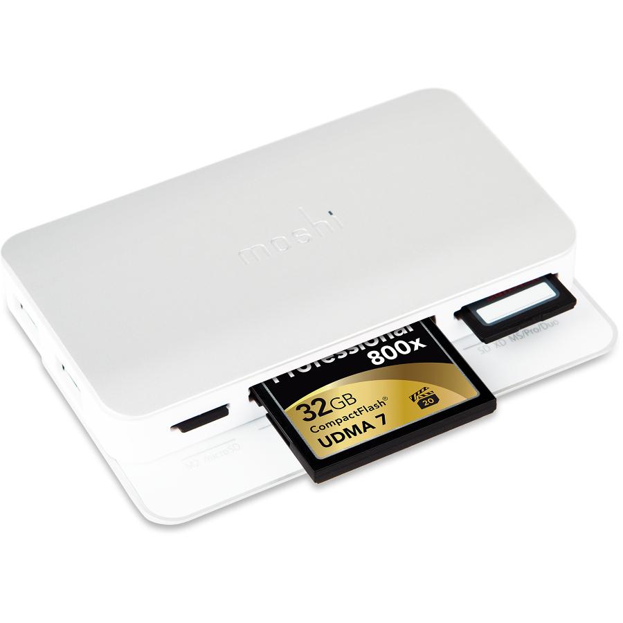 Картридер Moshi Cardette Type-C серебристыйХабы - разветвители USB<br>Cardette Type-C — это мультикартридер 4-го поколения от Moshi, в котором применены современные скоростные технологии USB-C и Ultra-High Speed (UHS-I).<br><br>Цвет товара: Серебристый<br>Материал: Металл, пластик