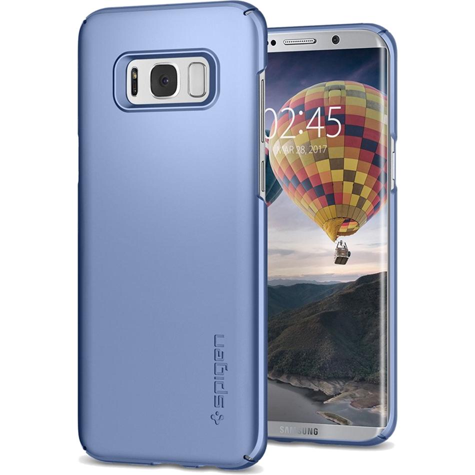 Чехол Spigen Thin Fit для Samsung Galaxy S8 Plus голубой коралл (571CS21677)Чехлы для Samsung Galaxy S8/S8 Plus<br>Чехол Thin Fit создан специально для флагмана Samsung — Galaxy S8 — и, пожалуй, является самым тонким чехлом от Spigen!<br><br>Цвет товара: Голубой<br>Материал: Поликарбонат