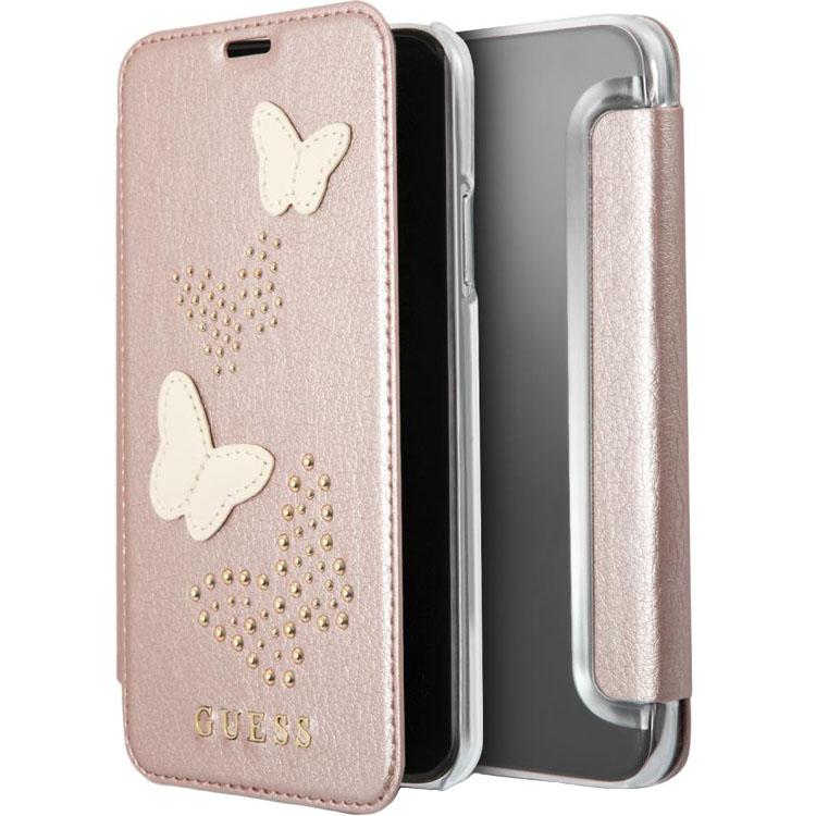 Чехол Guess Studs &amp; Sparkles Booktype PU Butterflies для iPhone X розовое золотоЧехлы для iPhone X<br>Guess Studs &amp; Sparkles Booktype PU защитит ваш iPhone X со всех сторон!<br><br>Цвет: Розовое золото<br>Материал: Экокожа, поликарбонат, термопластичный полиуретан