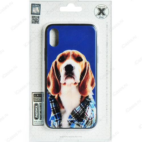 Чехол Remax Painting Series для iPhone X (Пёс в клетчатой рубашке)Чехлы для iPhone X<br>Оригинальный чехол Remax, без сомнения, является превосходной комбинацией стиля и надежности!<br><br>Цвет товара: Разноцветный<br>Материал: Пластик