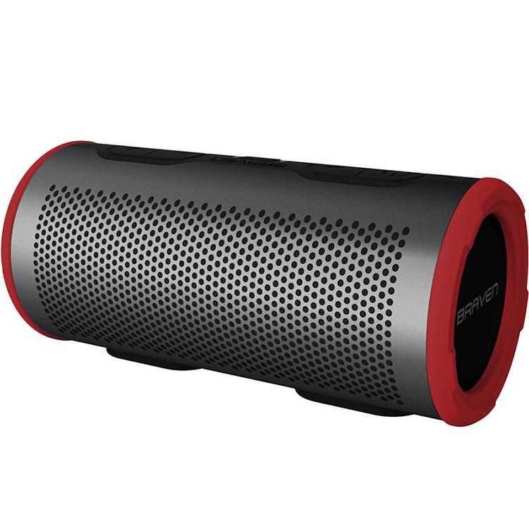 Портативная колонка Braven Stryde 360 серая/краснаяКолонки и акустика<br>Braven Stryde 360 позволяет звуку распространяться на все 360 градусов!<br><br>Цвет товара: Серый<br>Материал: Пластик, силикон