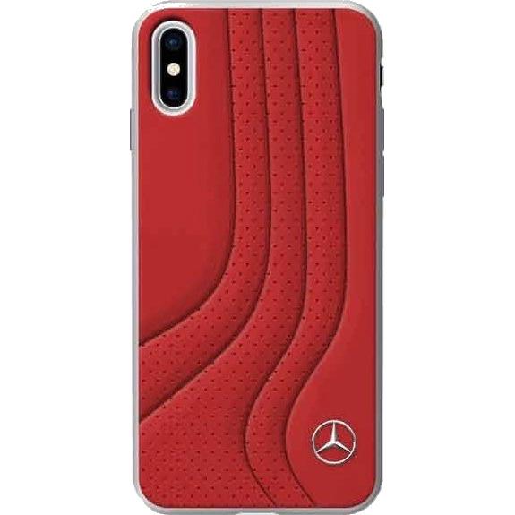 Чехол Mercedes New Bow II Hard Leather для iPhone X красныйЧехлы для iPhone X<br><br><br>Цвет товара: Красный<br>Материал: Натуральная кожа, поликарбонат, силикон