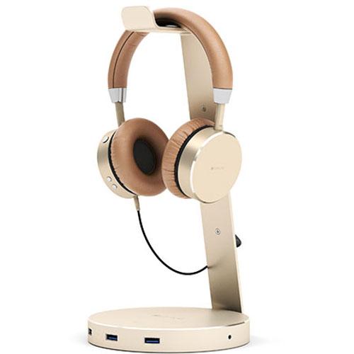 Подставка для наушников Satechi Aluminum USB 3.0 Headphone Stand ЗолотистаяКабели и аксессуары для наушников<br>Подставка Satechi Aluminium USB 3.0 Headphone Stand - Gold<br><br>Цвет товара: Золотой<br>Материал: Алюминий