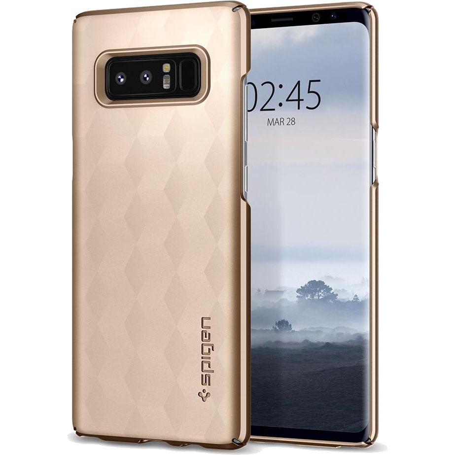 Чехол Spigen Thin Fit для Samsung Galaxy Note 8 золотистый (587CS22053)Чехлы для Samsung Galaxy Note<br>Это износостойкий материал, прочный и лёгкий, не боится перепадов температур и не выгорает на солнце.<br><br>Цвет товара: Золотой<br>Материал: Поликарбонат