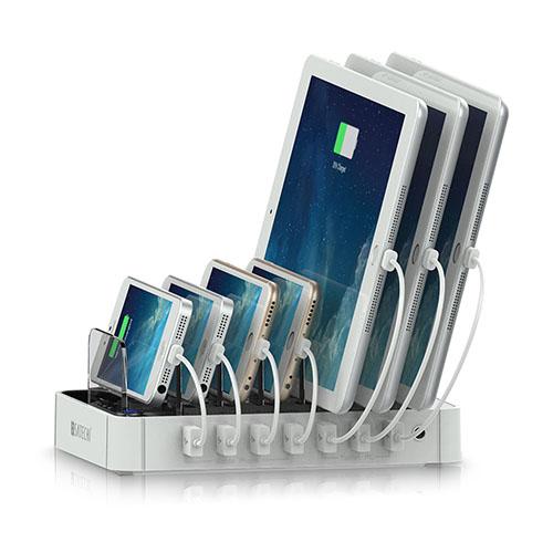 Зарядная док-станция Satechi 7-Port USB Charging StationДокстанции/подставки<br>Зарядная станция Satechi 7-Port USB Белый<br><br>Материал: Пластик