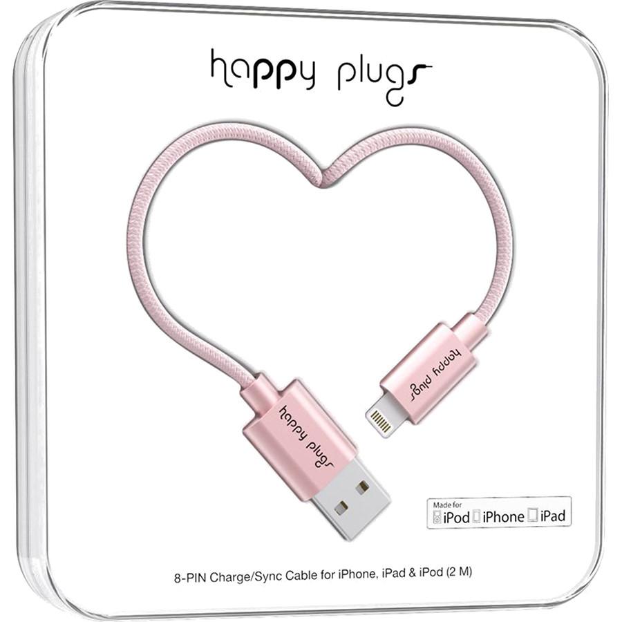 Кабель Happy Plugs Lightning Charge/Sync Cable Deluxe Edition Розовое золотоКабели Lightning<br>Зарядный кабель Happy Plugs Lightning Charge/Sync изготовлен из исключительных материалов.<br><br>Цвет: Розовое золото<br>Материал: Металл, нейлон