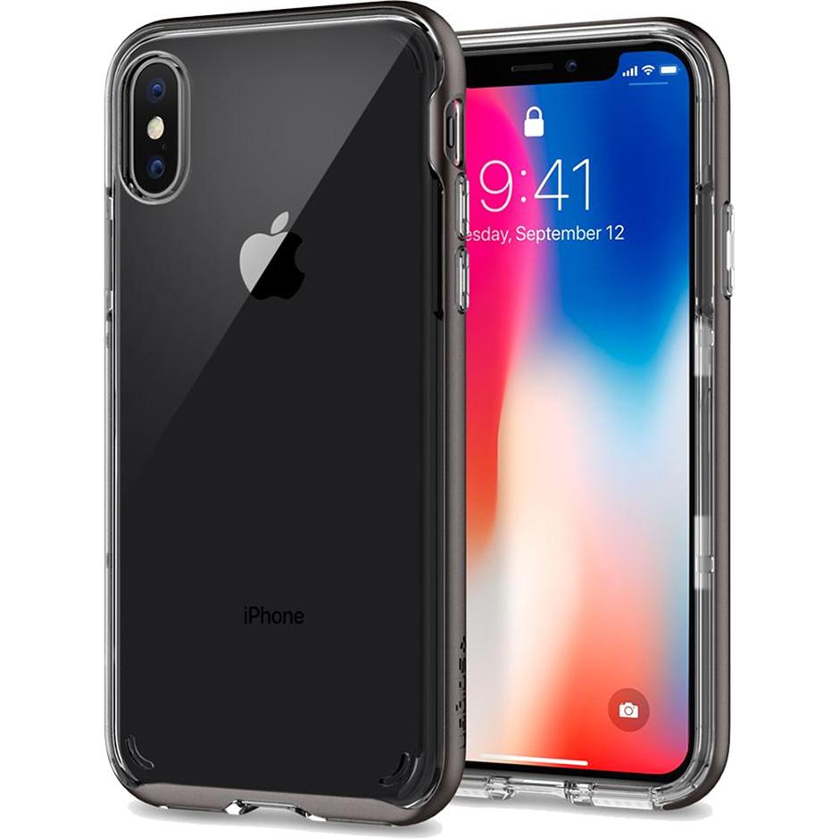 Чехол Spigen Case Neo Hybrid Crystal для iPhone X стальной (057CS22172)Чехлы для iPhone X<br>Простой и изящный чехол, само название которого говорит о том, что он не скрывает дизайн iPhone X.<br><br>Цвет товара: Серый<br>Материал: Термопластичный полиуретан, поликарбонат