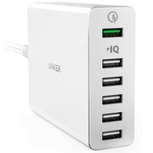 Сетевое зарядное устройство Anker PowerPort+ 6 USB Quick Charge 3.0 (A2063L21) белоеСетевые зарядки<br>Anker — удобное сетевое зарядное устройство, с шестью USB разъёмами и мощностью до 60 Вт.<br><br>Цвет товара: Белый<br>Материал: Пластик