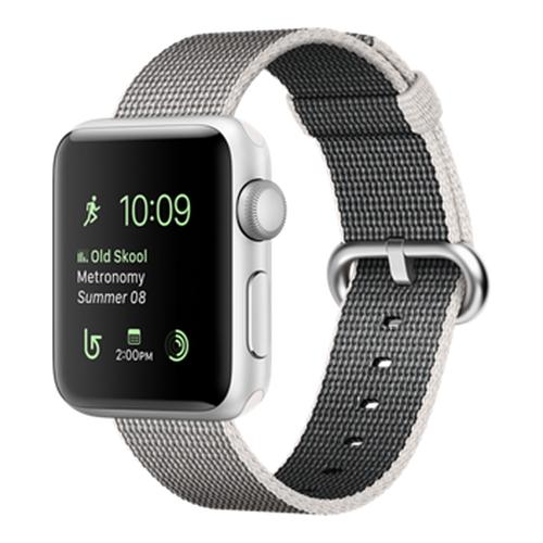 Часы Apple Watch Series 2 38 мм, серебристый алюминий, ремешок из плетёного нейлона жемчужныйУмные часы<br>Часы Apple Watch Series 2 38 мм, серебристый алюминий, ремешок из плетёного нейлона жемчужный<br><br>Цвет товара: Серый<br>Материал: Алюминий серии 7000 анодированный<br>Модификация: 38 мм