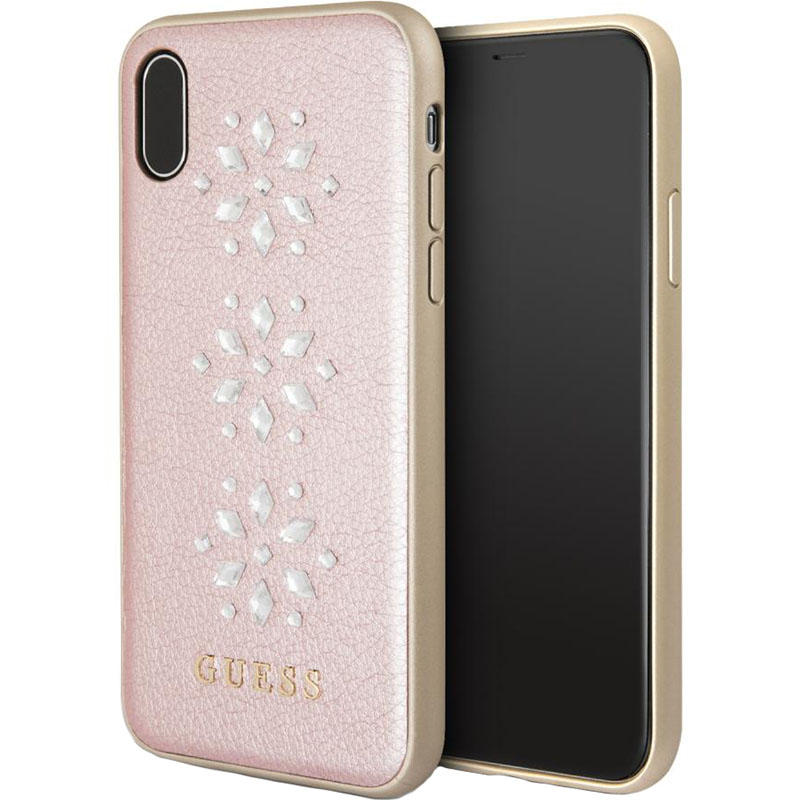 Чехол Guess Snowflakes Hard PU для iPhone X розовыйЧехлы для iPhone X<br>Привлекательный и прочный чехол для iPhone X от всемирно известного дома моды Guess.<br><br>Цвет товара: Розовый<br>Материал: Экокожа, термопластичный полиуретан