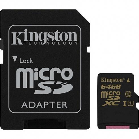 Карта памяти Kingston micro-SDHC/SDXC UHS-I Class 10 90R/45W 64Гб с SD адаптером (SDCA10)Карты памяти<br>Карта памяти Kingstone 64Gb class 10 + adapter SD 90mb/s R, 45mb/s W<br><br>Цвет товара: Чёрный<br>Материал: Пластик<br>Модификация: 64 Гб