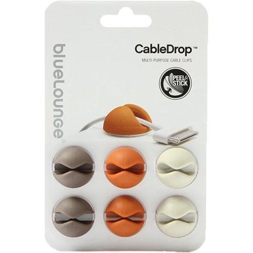 Зажим для проводов Bluelounge CableDrop (6 штук) белый / оранжевый / коричневыйОрганайзеры проводов и гаджетов<br>Bluelounge CableDrop помогут вам организовать рабочее пространство!<br><br>Цвет товара: Разноцветный<br>Материал: Пластик
