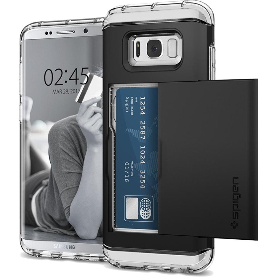 Чехол Spigen Crystal Wallet для Samsung Galaxy S8 чёрный (565CS21086)Чехлы для Samsung Galaxy S8/S8 Plus<br>Spigen Crystal Wallet — это два прочнейших слоя защиты от повреждений для вашего смартфона, плюс отделение для ваших кредитных карт или визиток.<br><br>Цвет товара: Чёрный<br>Материал: Термопластичный полиуретан