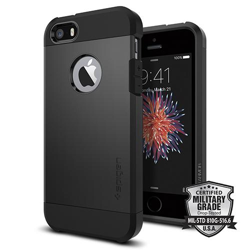 Чехол Spigen Tough Armor для iPhone 5/5S/SE чёрный (SGP-041CS20189)Чехлы для iPhone 5/5S/SE<br>Spigen Tough Armor сочетает в себе преимущества двух полимеров.<br><br>Цвет товара: Чёрный<br>Материал: Поликарбонат, полиуретан