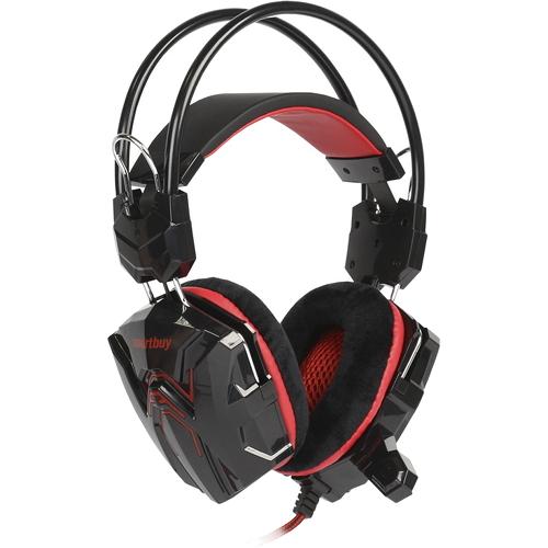 Игровая гарнитура Smartbuy Rush Cobra чёрный/красный (SBHG-1300)Полноразмерные наушники<br>Игровая гарнитура Smartbuy Rush Cobra чёрный/красный (SBHG-1300)<br><br>Цвет товара: Красный<br>Материал: Пластик, металл, велюр