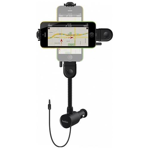 FM-трансмиттер Belkin TuneBase Hands-Free AUX для iPhone 5Автозарядки<br>Belkin TuneBase Hands-Free AUX откроет перед Вами широкие возможности.<br><br>Цвет товара: Чёрный<br>Материал: Пластик, металл