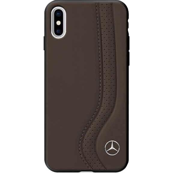 Чехол Mercedes New Bow I Hard Leather для iPhone X коричневыйЧехлы для iPhone X<br><br><br>Цвет товара: Коричневый<br>Материал: Натуральная кожа, поликарбонат, силикон