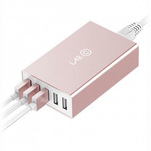 Сетевое зарядное устройство Lab.C X5 Розовое золотоСетевые зарядки<br>Зарядное устройство LAB.C X5 для мобильных устройств от 220В/ 5USB разьемов, розовое золото<br><br>Цвет товара: Розовое золото<br>Материал: Пластик, металл