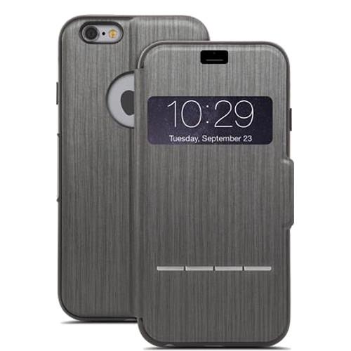 Чехол Moshi SenseCover для iPhone 6/6s графитЧехлы для iPhone 6/6s<br>Чехол Moshi SenseCover для iPhone 6  Brushed Titanium<br><br>Цвет товара: Серый<br>Материал: Поликарбонат, полиуретановая кожа