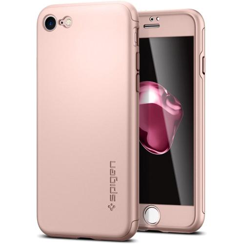 Чехол Spigen Thin Fit 360 для iPhone 7 (Айфон 7) розовое золото (SGP-042CS21099)Чехлы для iPhone 7<br>Ультратонкий и невероятно лёгкий, словно пёрышко, чехол Spigen Thin Fit 360 для iPhone 7.<br><br>Цвет товара: Розовое золото<br>Материал: Поликарбонат