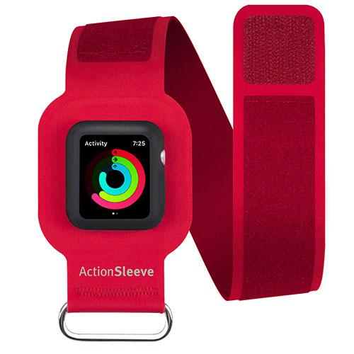 Спортивный чехол на руку Twelve South Action Sleeve Armband для Apple Watch 42mm красныйЧехлы Apple Watch<br>С Action Sleeve Armband вы сможете наиболее точно отслеживать частоту сердцебиения.<br><br>Цвет товара: Красный<br>Материал: Пластик, текстиль, металл
