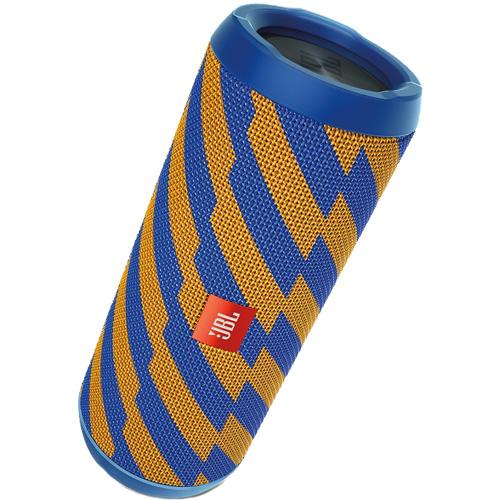 Портативная акустическая система JBL Flip 4 Special Edition ZapКолонки и акустика<br>Портативная и водонепроницаемая беспроводная акустическая система JBL Flip 4 с мощным звучанием.<br><br>Цвет товара: Синий<br>Материал: Текстиль, пластик
