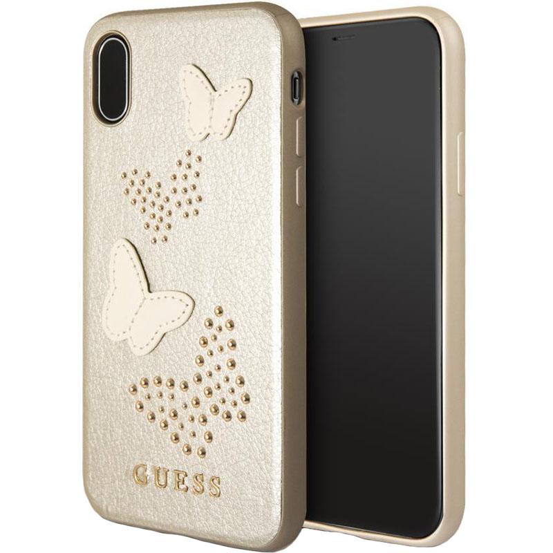 Чехол Guess Butterflies Hard PU для iPhone X золотойЧехлы для iPhone X<br>Привлекательный и прочный чехол для iPhone X от всемирно известного дома моды Guess.<br><br>Цвет товара: Золотой<br>Материал: Экокожа, термопластичный полиуретан