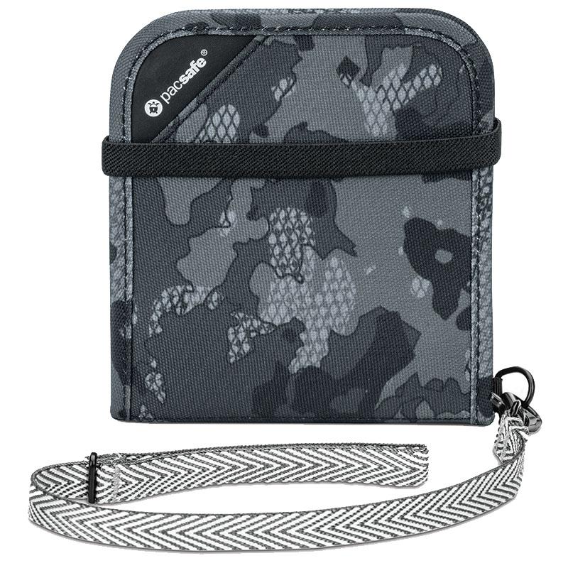 Кошелёк PacSafe RFIDsafe V100 серый камуфляжКошельки и портмоне<br>PacSafe RFIDsafe V100 - лучшая защита для всех ваших ценностей!<br><br>Цвет товара: Серый<br>Материал: Текстиль, ткань RFIDsafe