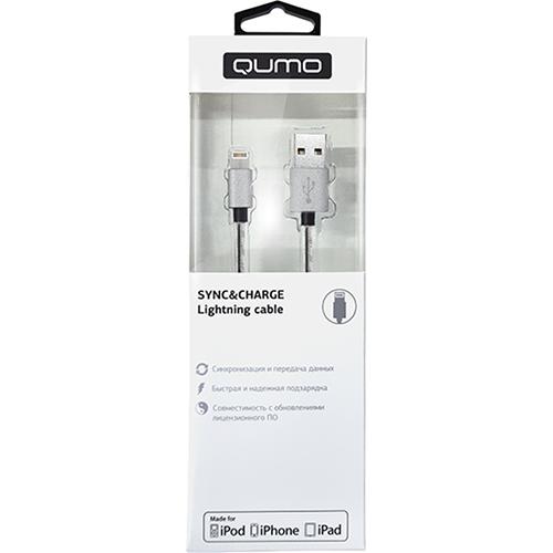 Кабель Qumo Lightning-USB (1 метр) MFI со стальной пружиной серебристыйКабели Lightning<br>Кабель Qumo MFI Lighting 1м стальная пружина - серебристый<br><br>Цвет товара: Серебристый<br>Материал: Металл, пластик