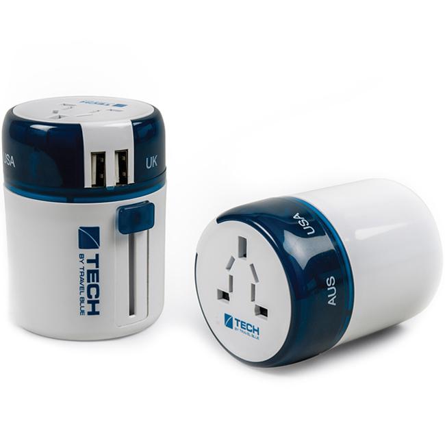 Универсальный адаптер-переходник Travel Blue Sliding Adaptor 2xUSB синий