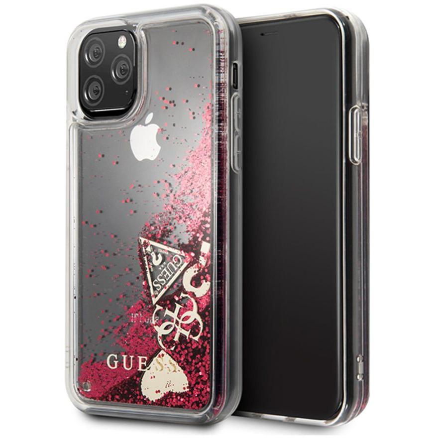 Чехол Guess Liquid Glitter Hearts Hard для iPhone 11 Pro красный Raspberry