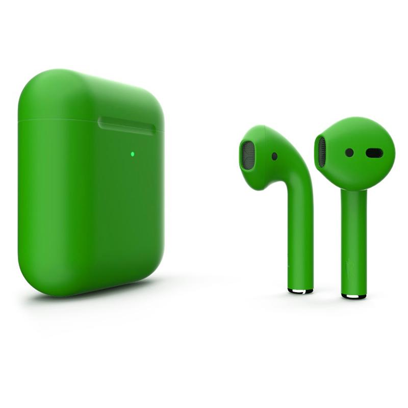 Беспроводные наушники Apple AirPods 2 (с функцией беспроводной зарядки) Custom Edition зелёные матовые