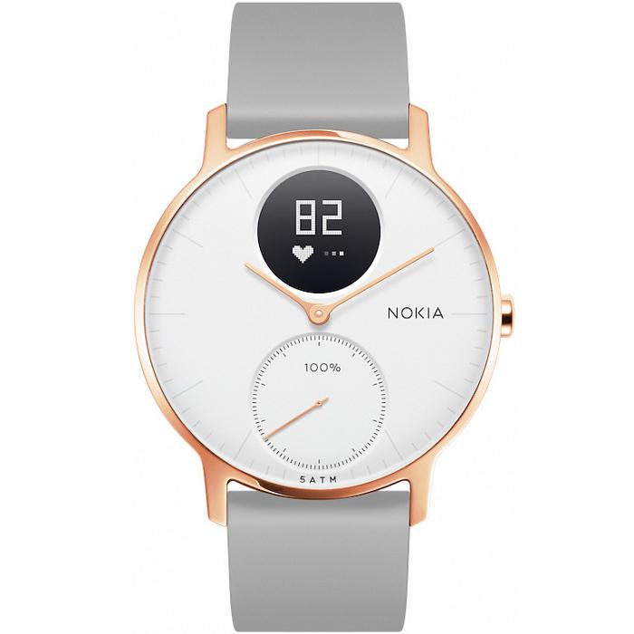 Умные часы Nokia Steel HR 36 мм (белый циферблат) Rose Gold / Grey Silicon Band