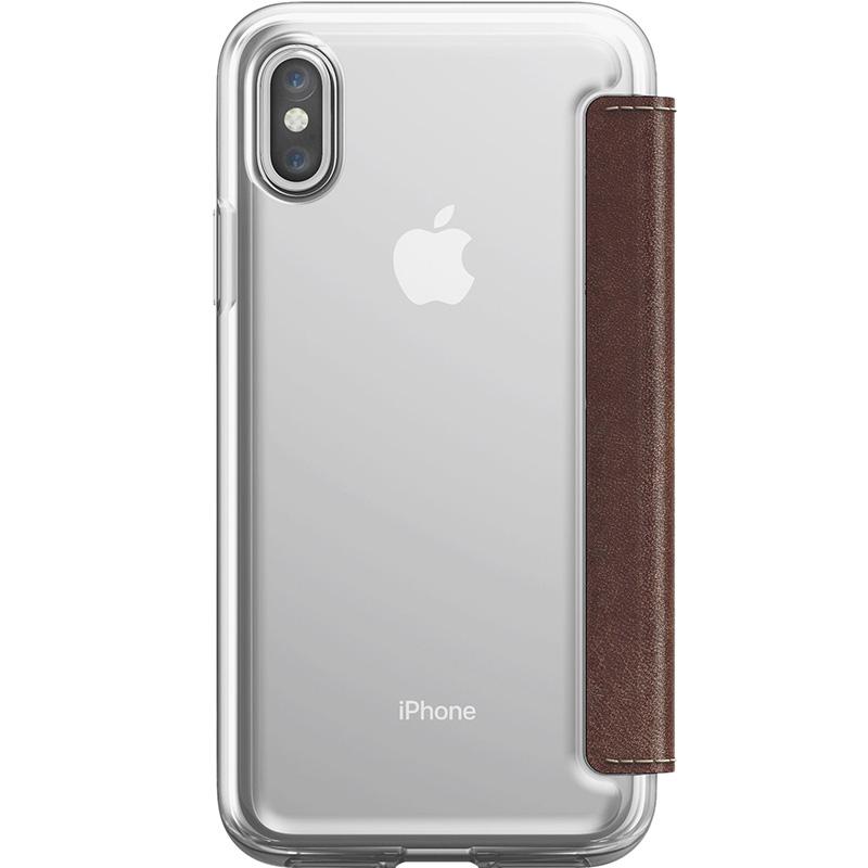 Чехол Nomad Clear Folio Case для iPhone X/Xs коричневый