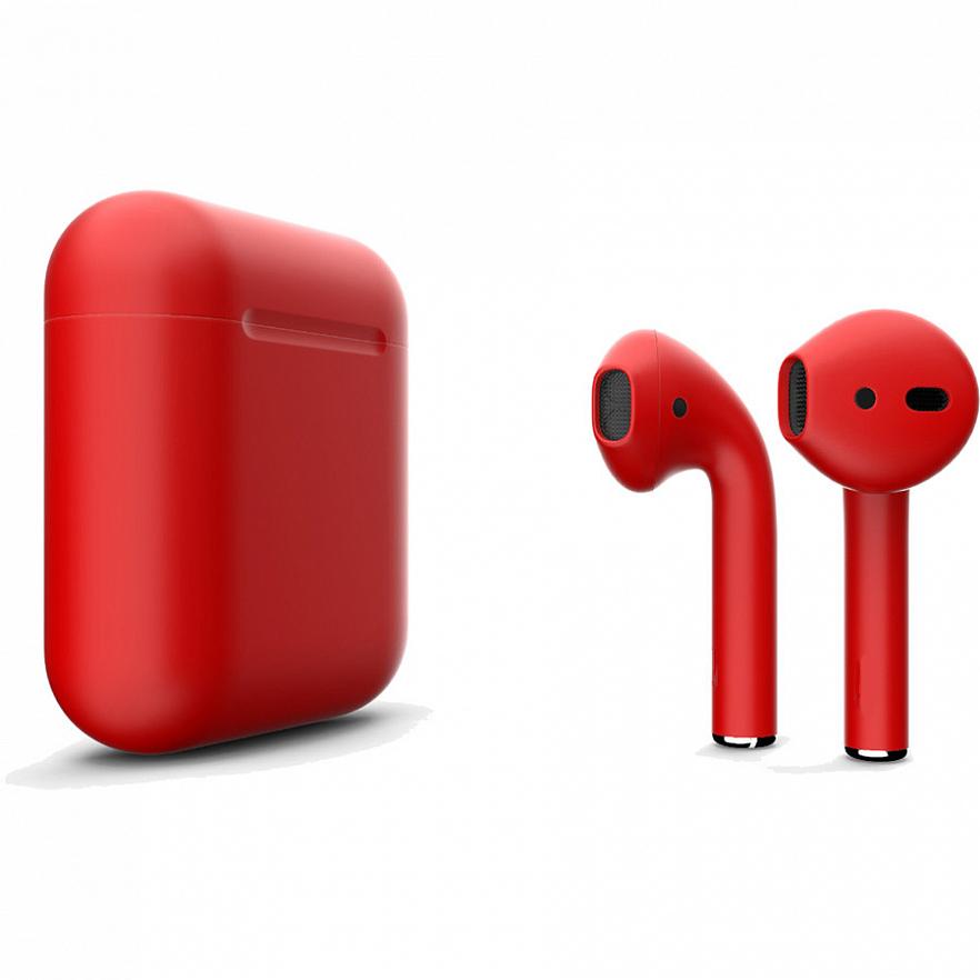 Беспроводные наушники Apple AirPods 2 (второе поколение) Custom Edition красный матовый