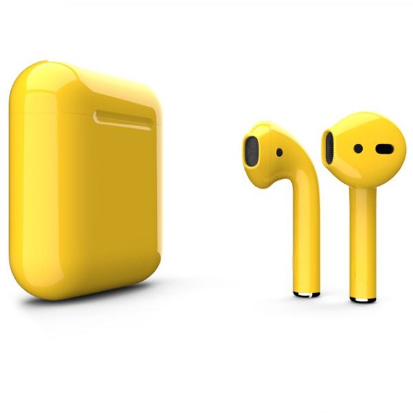 Беспроводные наушники Apple AirPods 2 (второе поколение) Custom Edition жёлтые глянцевые