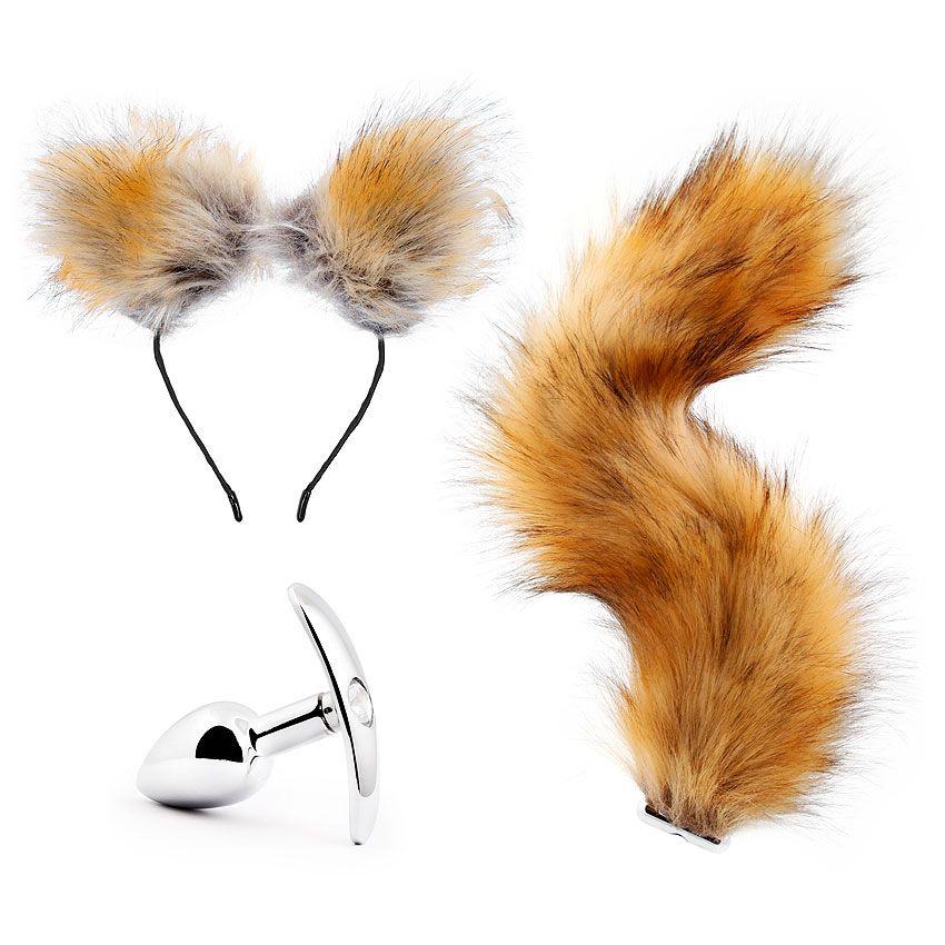 Игровой набор в коричневом цвете: ободок-ушки, анальная пробка, хвостик