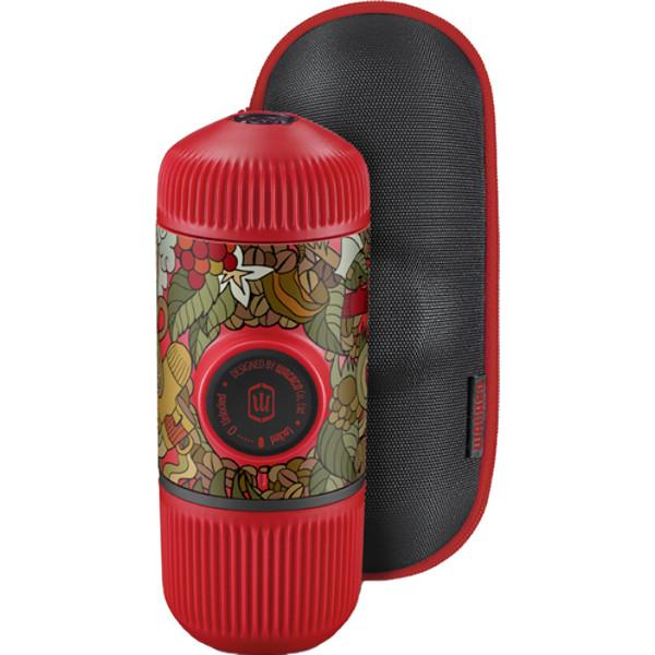 Портативная кофемашина Wacaco Nanopresso Limited Edition Red Tattoo Jungle красная (с чехлом)