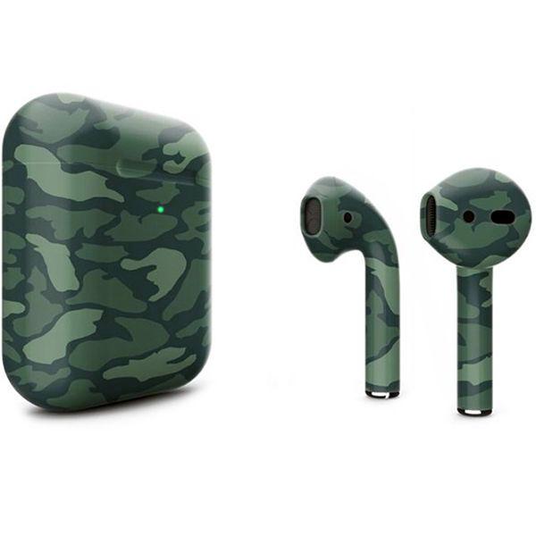 Беспроводные наушники Apple AirPods 2 (с функцией беспроводной зарядки) Custom Edition зелёный камуфляж