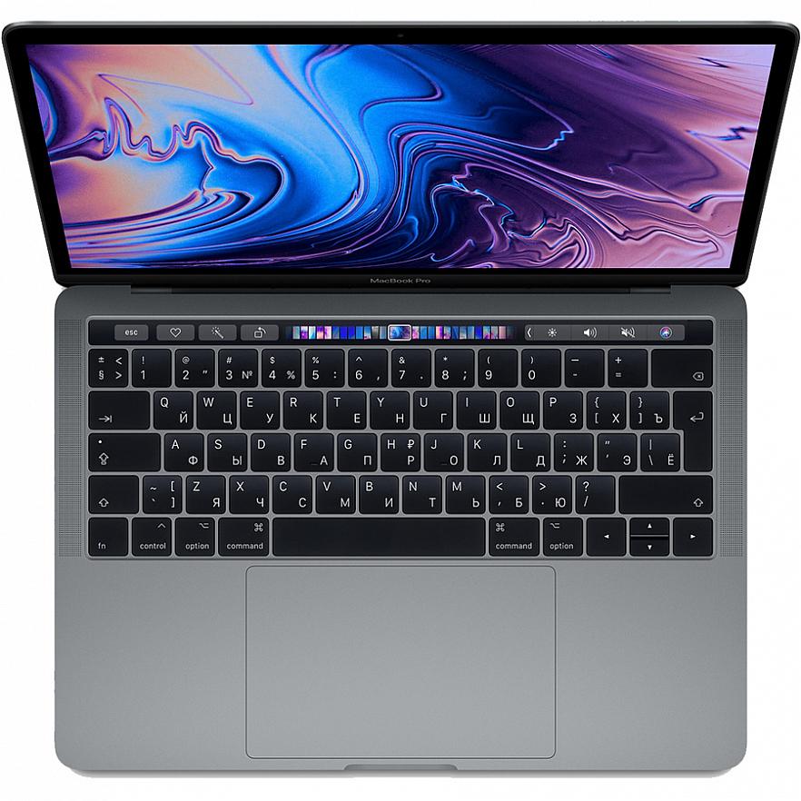 "Ноутбук Apple MacBook Pro 13"" Touch Bar (2019) Touch ID, Intel Core i5 2.4 ГГц, 8 Гб, SSD 256 Гб, Intel Iris Plus Graphics 655 (MV962) серый космос"