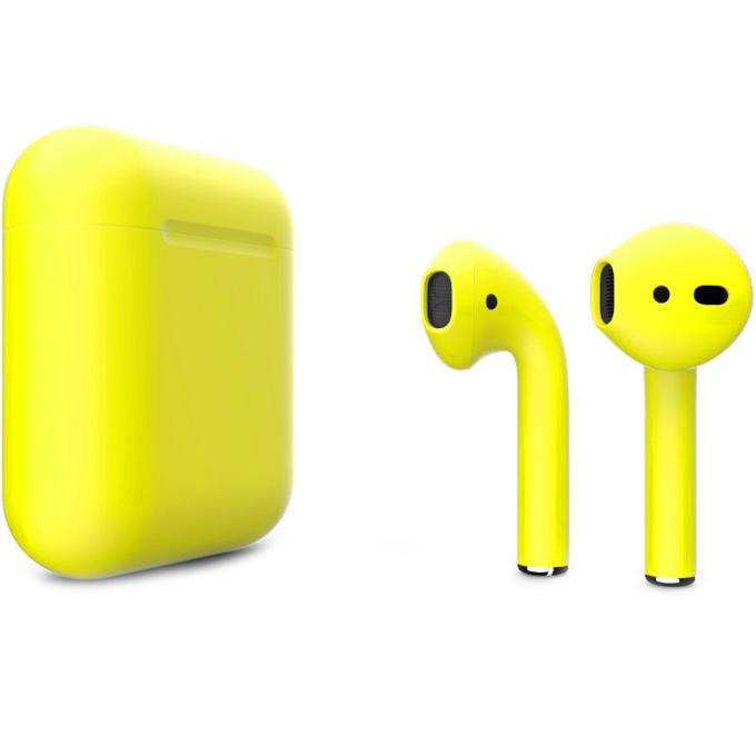 Беспроводные наушники Apple AirPods 2 (второе поколение) Custom Edition жёлтые матовые