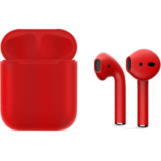 Беспроводные наушники Apple AirPods 2 (второе поколение) Full Color Custom Edition красные матовые (полная покраска)