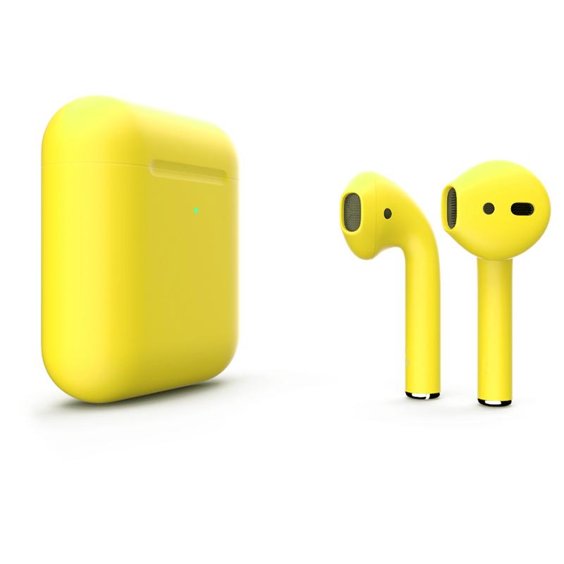 Беспроводные наушники Apple AirPods 2 (с функцией беспроводной зарядки) Custom Edition жёлтые матовые
