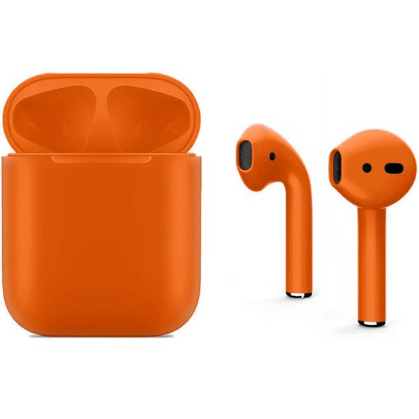 Беспроводные наушники Apple AirPods 2 (второе поколение) Custom Edition оранжевые матовые (полная покраска)