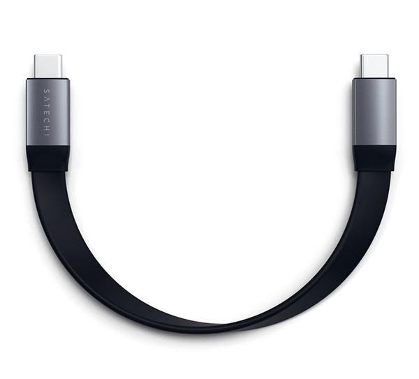 Кабель Satechi Flat USB-C to USB-C (22,8 см) 100W серый космос (ST-TCCFC)