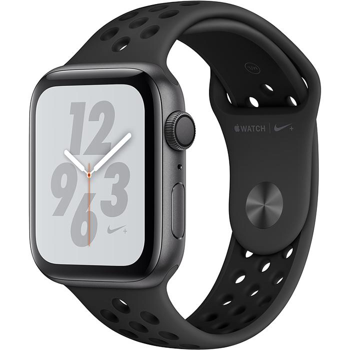 Умные часы Apple Watch Nike+ Series 4 44 мм, алюминий «серый космос», спортивный ремешок Nike цвета «антрацитовый/чёрный»