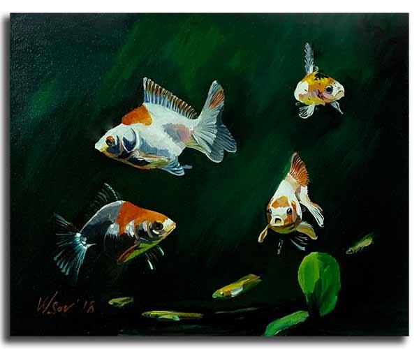 Интерьерная картина маслом (40 х 50 см) Рыбки